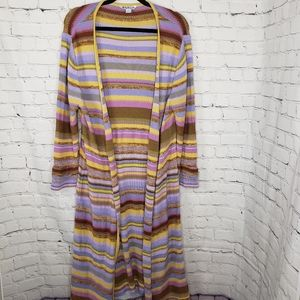 April Cornell Long Duster Sweater Boho Hippie 70s